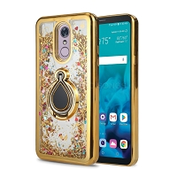 Samsung Galaxy A10 New Liquid Glitter Case With Ring Gold