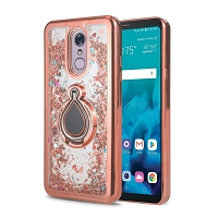 Samsung Galaxy A10 New Liquid Glitter Case With Ring Rose Gold