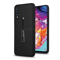 Samsung Galaxy A70 New Hybrid Finger Grip Case With Kickstand Black
